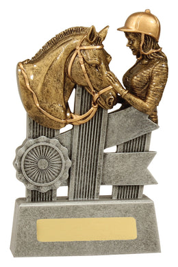 A1809 Silver Ribbon Horse Trophy features a charming scene between horse and rider Silver & Gold Resin  3 Sizes:  110mm / 140mm / 170mm available, Engraving included, Gold Coast Trophies near Varsity