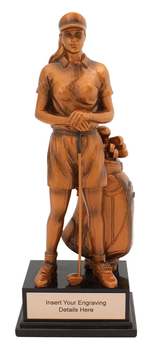 A1942 Bronze Female Golfer Award Bronze Resin  255mm in height, Engraving included, Gold Coast Trophies West Burleigh