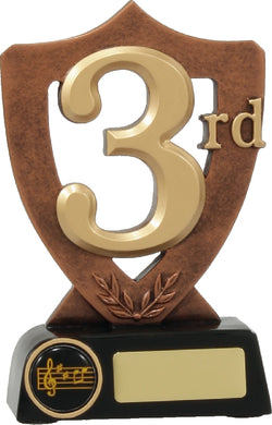 A333 3rd Place Shield Award Trophy with Black Base, Bronze, Gold & Black Resin, Engraving and Logo included.   160mm in height.  Gold Coast Trophies Burleigh Gold Coast