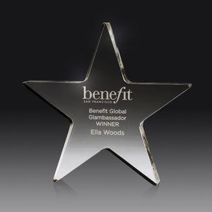 AC54A Clear Acrylic Star Award,  ideal for star performers at your event, presentation or competition 150mm x 18mm Thick, Engraving Included, Gold Coast Trophies, Burleigh Heads