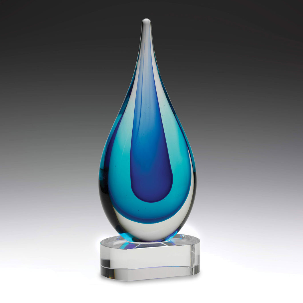 AG311 Ocean Art Glass presents a brilliant water-inspired design with blue colours Engraving Included Gold Coast Trophies Burleigh Heads