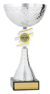 C0350 Silver cup with a logo and marble base 3 sizes, delivery or collection from Gold Coast Trophies QLD.