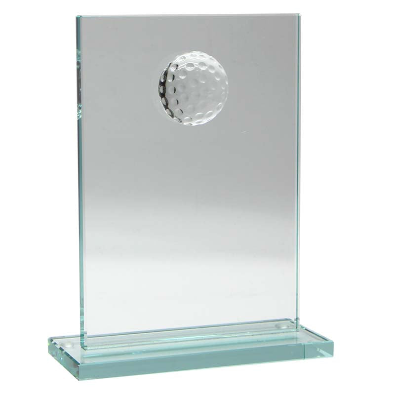 CC716S Rectangle Jade Glass Golf Award, Featuring Moulded Golf Ball Rectangle Jade Glass on Base  2 Sizes:  160mm / 190mm available, Engraving Included, Gold Coast Trophies, Burleigh