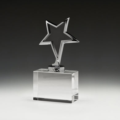 CG571 Meta Star Crystal Crystal Iceburg Award - Silver Metal Star on Crystal Block Base Overall Height - 170mm, Crystal Block - 85mm x 40mm, Engraving included, Gold Coast Trophies near Varsity Lakes