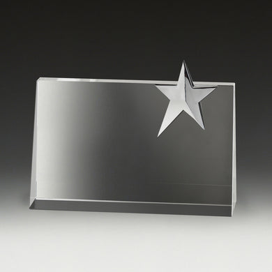CS125 Crystal Star Rampart Award with Chrome Star 135mm, Engraving Included, Gold Coast Trophies, Burleigh