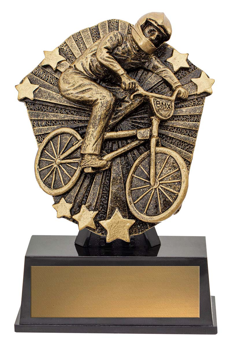 CSM07 BMX Bike & Rider Cosmos Series Gold & Black Resin  120mm in height, Engraving included Gold Coast Trophies, Burleigh