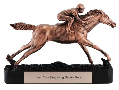 13037 Prestigious Horse Racing Trophy with Classic Bronze finish & featuring a Black Base 230mm in height, Engraving included, Gold Coast Trophies Burleigh Heads