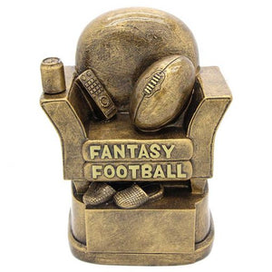 FF8 Fantasy Football AFL Trophy, incorporating armchair, football, mobile phone, beer & slippers Gold Resin  118mm in height, Engraving included, Gold Coast Trophies, West Burleigh