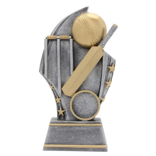 golden ball cricket trophy featuring wickets and bat