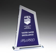 Load image into Gallery viewer, GK733 Ultra Glass Awards in Blue perfect for showing off your logo and text requirements 225mm in height from Gold Coast Trophies near Surfers Paradise