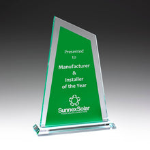 Load image into Gallery viewer, GK734 Ultra Glass Awards in Green perfect for showing off your logo and text requirements 225mm in height from Gold Coast Trophies near Surfers Paradise