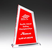 Load image into Gallery viewer, GK736 Ultra Glass Awards in Red perfect for showing off your logo and text requirements 225mm in height from Gold Coast Trophies near Surfers Paradise