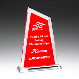 GK736 Ultra Glass Awards in Red perfect for showing off your logo and text requirements 225mm in height from Gold Coast Trophies near Surfers Paradise