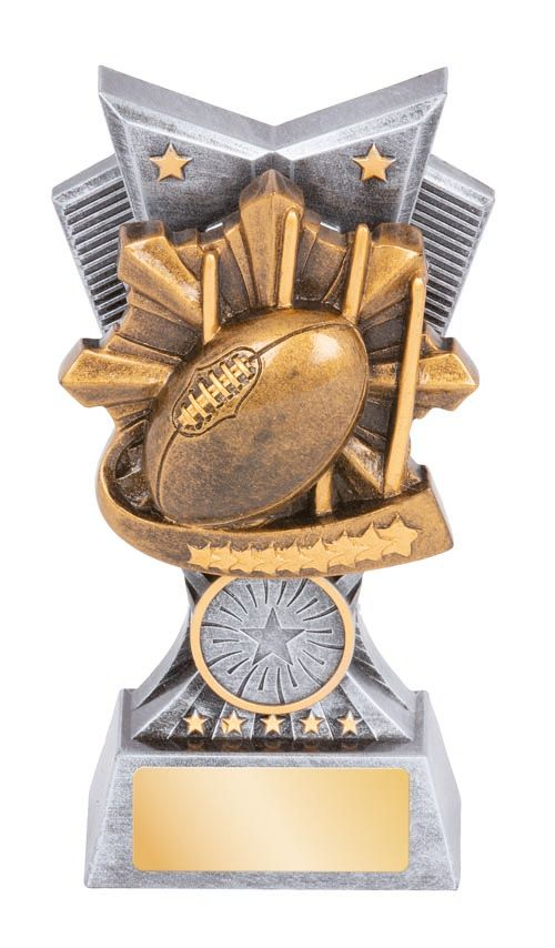 Electra AFL Trophy, featuring AFL ball & stars Gold & Silver Resin, 3 sizes available, Engraving & club logo included