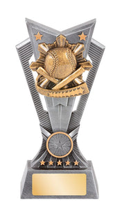JWS200-62 Electra Baseball - Softball Trophy - silver and gold resin - 3 sizes - Gold Coast Trophies - Collect or Delivery