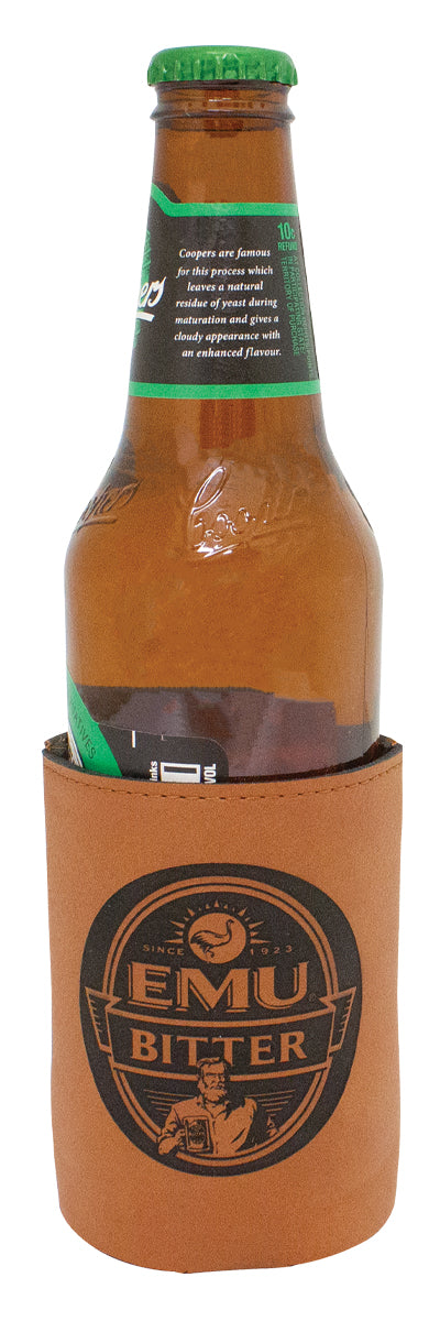 LE311 - Premium Rawhide Leatherette Coozie Bottle Holder Great for keeping your bottled drinks cool on hot summer days - Gold Coast Trophies Qld, delivery or collect.