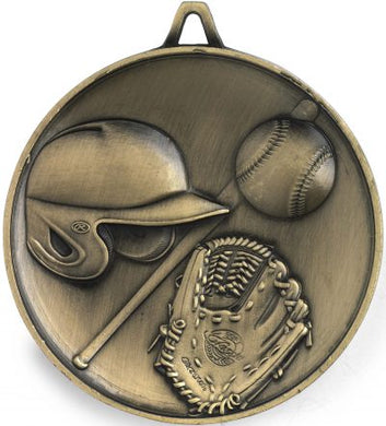 M9303 Baseball Medal - Budget Heavy Weight - 62mm Diameter Featuring Baseball Helmet, Ball, Bat & Glove  62mm Diameter, Ribbon & Engraving plate on the back - 43mm x 35mm included