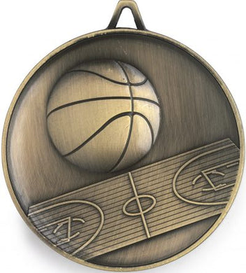 M9307 Basketball Medal - Budget Heavy Weight - 62mm Diameter Featuring Basketball & Court  62mm Diameter, Ribbon & Engraving plate on the back - 43mm x 35mm included, West Burleigh Gold Coast