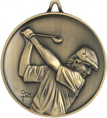 M9309 Golf Medal - Budget Heavy Weight - 62mm Diameter Featuring Male Golfer swinging a Club  62mm Diameter, engraving plate on the back included - 43mm x 35mm, Ribbon included, Gold Coast Trophies Burleigh
