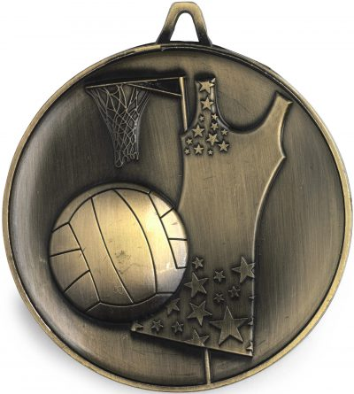 M9311 Netball Medal - Budget Heavy Weight - 62mm Diameter Featuring Netball Dress, Ball & Goal  62mm Diameter, Ribbon & Engraving plate on the back - 43mm x 35mm included, Gold Coast Trophies Burleigh