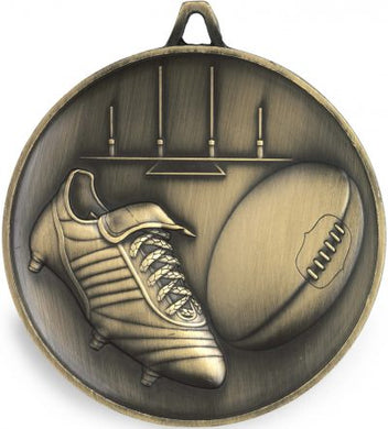 M9312 Footy/AFL Medal - Budget Heavy Weight Featuring Footy Boot, Ball & Goal  62mm Diameter, 43mm x 35mm engraving plate on the back, Ribbon included.  Gold Coast Trophies Burleigh