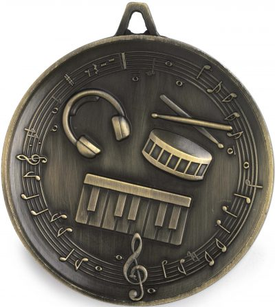 M9321 Music Medal - Budget Heavy Weight - 62mm Diameter Featuring Piano keys, Drum & Headphones  62mm Diameter, Ribbon & Engraving plate on the back included - 43mm x 35mm, Gold Coast Trophies, Burleigh