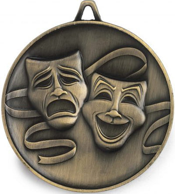 M9394 Drama Medal - Budget Heavy Weight - 62mm Diameter Featuring Weeping & Laughing Masks  62mm Diameter, Ribbon & Engraving plate on the back included- 43mm x 35mm, Gold Coast Trophies, Burleigh