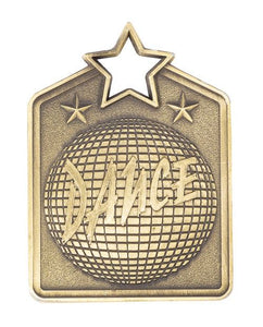 MS2032AG Dance Star Medal in Rectangle Shape - Great Value! Featuring a Disco Ball  Gold, Silver & Bronze  available 60mm high with square engraving space on the back included, Ribbon included, Gold Coast Trophies, Burleigh Heads