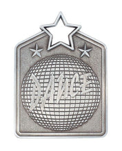 Load image into Gallery viewer, MS2032AS Dance Star Medal in Rectangle Shape - Great Value! Featuring a Disco Ball Gold, Silver & Bronze available 60mm high with square engraving space on the back included, Ribbon included, Gold Coast Trophies, Burleigh Heads