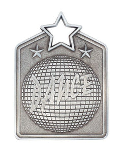 MS2032AS Dance Star Medal in Rectangle Shape - Great Value! Featuring a Disco Ball Gold, Silver & Bronze available 60mm high with square engraving space on the back included, Ribbon included, Gold Coast Trophies, Burleigh Heads