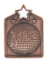 Load image into Gallery viewer, MS2032B Dance Star Medal in Rectangle Shape - Great Value! Featuring a Disco Ball Gold, Silver & Bronze available 60mm high with square engraving space on the back included, Ribbon included, Gold Coast Trophies, Burleigh Heads