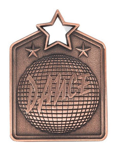MS2032B Dance Star Medal in Rectangle Shape - Great Value! Featuring a Disco Ball Gold, Silver & Bronze available 60mm high with square engraving space on the back included, Ribbon included, Gold Coast Trophies, Burleigh Heads