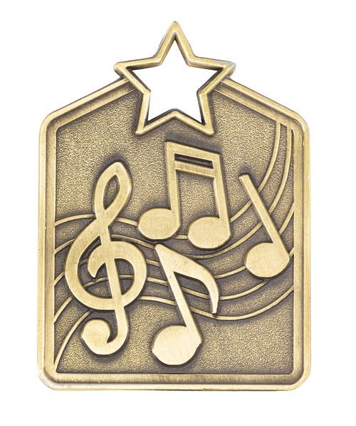 MS2034AG Music Star Medal in Rectangle Shape - Great Value! Featuring Music Notes  Gold, Silver & Bronze  60mm high with square engraving space on the back, Ribbon & Engraving included, Gold Coast Trophies, Burleigh