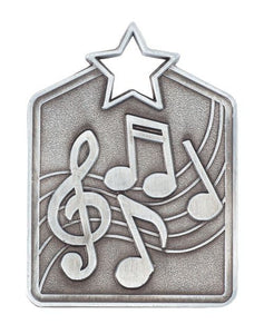 MS2034AS Music Star Medal in Rectangle Shape - Great Value! Featuring Music Notes Gold, Silver & Bronze 60mm high with square engraving space on the back, Ribbon & Engraving included, Gold Coast Trophies, Burleigh