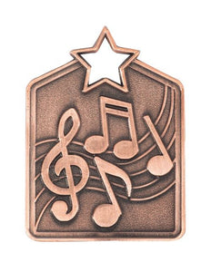 MS2034B Music Star Medal in Rectangle Shape - Great Value! Featuring Music Notes Gold, Silver & Bronze 60mm high with square engraving space on the back, Ribbon & Engraving included, Gold Coast Trophies, Burleigh