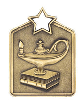 Load image into Gallery viewer, MS2036AG Gold Knowledge Star Rectangle Medal 60mm Ribbon and Engraving Included Gold Coast Trophies Burleigh Heads