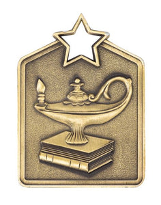MS2036AG Gold Knowledge Star Rectangle Medal 60mm Ribbon and Engraving Included Gold Coast Trophies Burleigh Heads