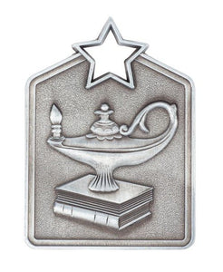 MS2036AS Silver Knowledge Star Rectangle Medal 60mm Ribbon and Engraving Included Gold Coast Trophies Burleigh Heads