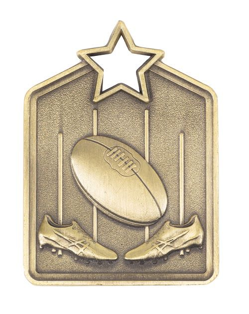 MS2051AG Gold Australian Rules Star Medal in Rectangle Shape - Great Value! Featuring Boots, Ball & Goal  60mm high with square engraving space on the back, Ribbon included.  Gold Coast Trophies Burleigh Heads