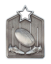 Load image into Gallery viewer, MS2051AS Silver Australian Rules Star Medal in Rectangle Shape - Great Value! Featuring Boots, Ball & Goal 60mm high with square engraving space on the back, Ribbon included. Gold Coast Trophies Burleigh Heads