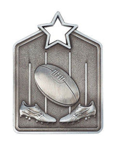 MS2051AS Silver Australian Rules Star Medal in Rectangle Shape - Great Value! Featuring Boots, Ball & Goal 60mm high with square engraving space on the back, Ribbon included. Gold Coast Trophies Burleigh Heads
