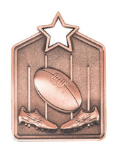 Load image into Gallery viewer, MS2051B Bronze Australian Rules Star Medal in Rectangle Shape - Great Value! Featuring Boots, Ball & Goal 60mm high with square engraving space on the back, Ribbon included. Gold Coast Trophies Burleigh Heads