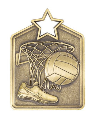 MS2053AG Netball Star Medal in Rectangle Shape - Great Value! Featuring a Shoe, Ball & Hoop Net, Gold 60mm high with square Engraving space on the back included with a Ribbon, Gold Coast Trophies Burleigh Heads