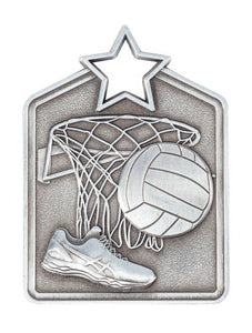 MS2053AS Netball Star Medal in Rectangle Shape - Great Value! Featuring a Shoe, Ball & Hoop Net, Silver 60mm high with square Engraving space on the back included with a Ribbon, Gold Coast Trophies Burleigh Heads