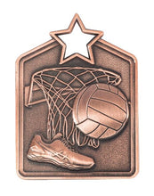 Load image into Gallery viewer, MS2053B Netball Star Medal in Rectangle Shape - Great Value! Featuring a Shoe, Ball & Hoop Net, Bronze 60mm high with square Engraving space on the back included with a Ribbon, Gold Coast Trophies Burleigh Heads