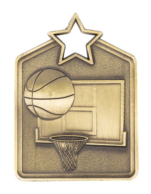 MS2060AG Basketball Star Medal in Rectangle Shape - Great Value! Featuring a Basketball, Back Board & Hoop  Gold, Silver & Bronze  60mm high with square Engraving space on the back provided with a Ribbon