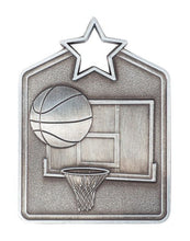 Load image into Gallery viewer, MS2060AS Basketball Star Medal in Rectangle Shape - Great Value! Featuring a Basketball, Back Board & Hoop Gold, Silver & Bronze 60mm high with square Engraving space on the back provided with a Ribbon
