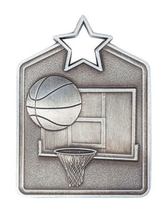 MS2060AS Basketball Star Medal in Rectangle Shape - Great Value! Featuring a Basketball, Back Board & Hoop Gold, Silver & Bronze 60mm high with square Engraving space on the back provided with a Ribbon