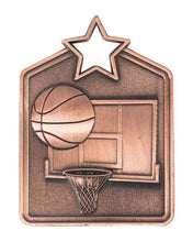Load image into Gallery viewer, MS2060B Basketball Star Medal in Rectangle Shape - Great Value! Featuring a Basketball, Back Board & Hoop Gold, Silver & Bronze 60mm high with square Engraving space on the back provided with a Ribbon