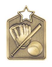 Load image into Gallery viewer, MS2062AG Baseball Star Medal in Rectangle Shape - Great Value! Featuring a Bat, Ball & Glove  Gold, Silver & Bronze  60mm high with square engraving space on the back included with a Ribbon